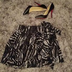 Express Zebra Print Silk Skirt